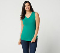 Isaac Mizrahi  Essentials Shirttail Hem Tank Top Mermaid Green Color Size XL