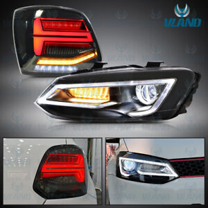 Head Lights and Smoked Led Tail Lights For 2011-2017 Volkswagen VW Polo MK5 6R