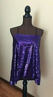 Womens Haoduoyi Plus Size 2X Strappy Tank Top Purple Sequin Adjust Straps New