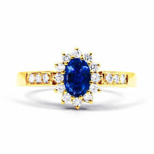 Yellow Gold Sapphire Solitaire with Accents Engagement Fine Gemstone Rings
