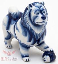 Porcelain Chow Chow Dog stepped on Hedgehog Figurine Gzhel colors handmade