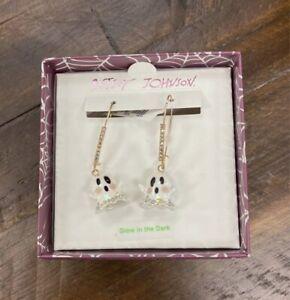 Betsey Johnson Dangling Ghost GLOW IN THE DARK Earrings W/ Rhinestones Halloween
