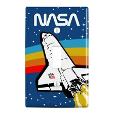 Nasa Logo Over Space Shuttle with Rainbow Wall Light Switch Plate Cover