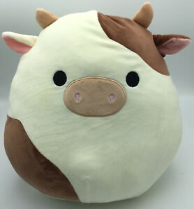 """PRIORITY SHIP! Ronnie the Brown and White Cow 12"""" Squishmallow Easter 2021"""