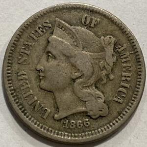 1866 Copper Nickel 3 Cent Piece. TYPE COIN