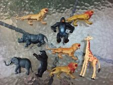 Toy Plastic Wild Animals Bear Tiger Lion Ape Rhino Giraffe Elephant 9 Pc