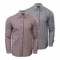 Crosshatch Larix Mens Check Shirt Cotton Long Sleeve Casual Top