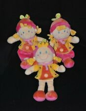 Lot 3 peluche doudou lutin clown rose jaune MOTS D'ENFANTS LECLERC fille 26 cm