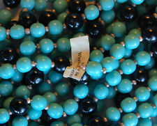 VINTAGE GLASS BEAD BEADED STRAND NECKLACE LENGTH TURQUOISE & BLACK • GERMANY