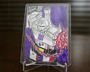 Original ACEO signed by Artist 1/1 Transformers G1 Megatron Decepticons