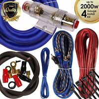 Complete 2000W 4 Gauge Car Amplifier Installation Wiring Kit Amp PK1 4 Ga Blue