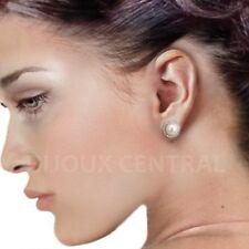 Genuine Freshwater Pearl Simulated Diamond Halo Sterling Silver Stud Earrings