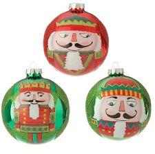 "RAZ Imports 4"" Glass Nutcracker Ball Ornaments 3524566 LOT OF 3"