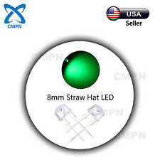 50Pcs 8mm Straw Hat Green Wide Angle LED Clear Bright Light Emitting Diodes USA