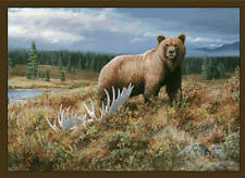 """Grizzly Bear Area Rug 37""""x52"""" WIlderness Carpet Lake Fishing Antlers Cabin Decor"""