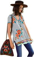 $178 Johnny Was Silk Trim Embroidered Tunic Medium 6 8 Bold Embroidery V Neck