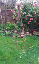 rusted steel metal 1.5m sweet pea bean conical pyramid garden plant support