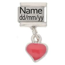 RED HEART Custom Made Italian Charm NAME & DATE Fits Nomination Classic Size