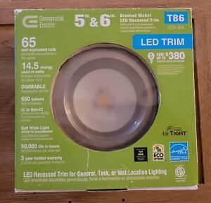 Commercial Electric 5 and 6 in. LED Recessed Trim T86  65 Watt Equivalent New