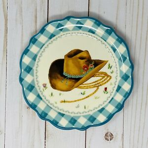 """The Pioneer Woman Cowboy Hat Appetizer Plate, Gingham Check Pattern, 7"""" Dia, NEW"""