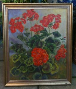 Jo Friend  original oil painting on board  Geraniums In Red, framed, signed