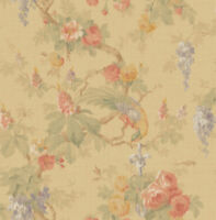 Floral Wallpaper in Pink, Blue, Green, Gold, Blush with Birds in a Dreamy Style