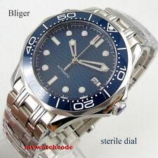 41mm sterile navy blue dial sapphire glass steel bracelet automatic mens watch