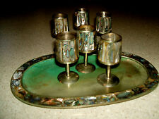 Vintage Silver Abalone Cordial Liqueur Shot Glasses Tray Set Barware Mexico 7 pc