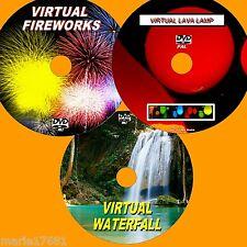 VIRTUAL WATERFALL LAVA LAMP & FIREWORKS 3 GREAT DVD VIDEOs FOR PLASMA/LED TV NEW