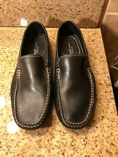 VIA SPIGA Black Leather Driving Loafers 'DRIVE ALONG' Men's Slip On Shoes Sz 9M