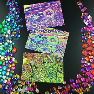 Small Rainbow Cards 3 Set, Double Sided, 3 Original Designs by Amie Shalna
