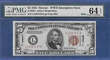 1934 $5 MULE ♚♚HAWAII♚♚  PMG CH UNC 64 EPQ  ONLY 196 KNOWN!!!