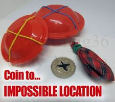 COIN VANISH TO IMPOSSIBLE LOCATION 4 DISKS 1 BAG LIGHTNING MAGIC TRICK BAND BOX