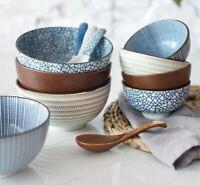 Japanese Classic Ceramic Rice Noodle Bowls Salad Dish Soup Bowl Spoon Tea Cup