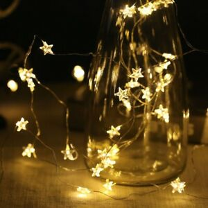 Battery LED Stars String Fairy Lights Warm White Copper Wire XMAS Party Indoor