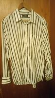 80s Giorgio Armani Men's Shirt Cotton Long Sleeve Large white with black stripe