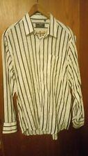 Giorgio Armani Men's Shirt  Cotton Long Sleeve Large white with black stripe