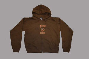 Guinness brown harp signature distressed zip-up 100% cotton hoodie - NEW