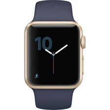 NEW APPLE WATCH SERIES 1 38MM GOLD ALUMINUM CASE MIDNIGHT BLUE SPORT BAND