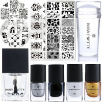 11Pcs Nail Art Stamping Plates Stamp Polish Top Coat Stamper Scraper Image Kits