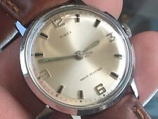 Vintage 1970 Timex Marlin Series Mechanic Men's Watch Serviced New Leather Strap