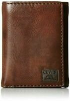 New Levi's Men's Brown Stitch Trifold Wallet Credit Card One Size / 31LV110002