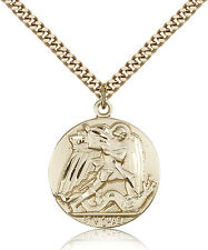 "Saint Michael The Archangel Medal For Men - Gold Filled Necklace On 24"" Chain..."