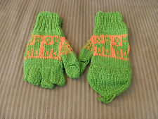 New From Peru Flip Top Mittens Alpaca Llama Design Teen Adult Lime Green #50747