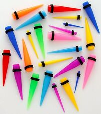 PAIR Tapers  Neon  Acrylic  Ear-Plug- Stretcher 14g 12g 10g 8g 6g 4g 2g 0g 00g