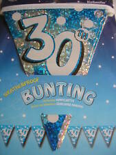 STUNNING 30TH BIRTHDAY FLAG BANNER   BLUE   13FT LONG