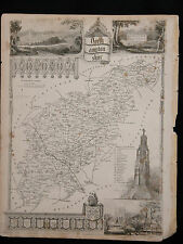 Original Vtg Antique Northamptonshire Map circa 1840s by Moule 19th C. Engraving