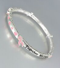 BREAST CANCER AWARENESS Pink Ribbon MAKE A DIFFERENCE Stretch Stackable Bracelet