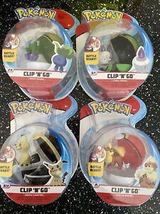 Pokemon Clip N Go Figures Growlithe Mimikyu Litwick Oddish New Sealed Bundle
