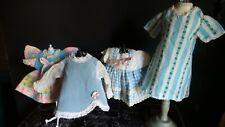 Vintage! Lot of 4 Smaller Multi colored 1950 Era Dresses for Hard Plastic Dolls